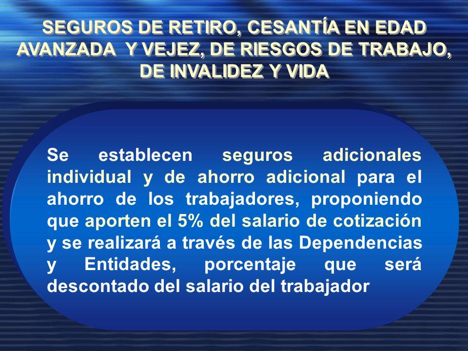 Se establecen seguros adicionales individual y de ahorro adicional para el ahorro de los trabajadores, proponiendo que aporten el 5% del salario de cotización y se realizará a través de las Dependencias y Entidades, porcentaje que será descontado del salario del trabajador SEGUROS DE RETIRO, CESANTÍA EN EDAD AVANZADA Y VEJEZ, DE RIESGOS DE TRABAJO, DE INVALIDEZ Y VIDA