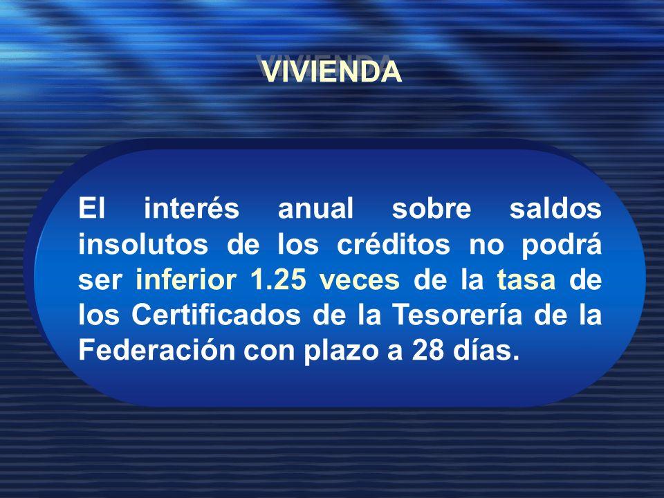 El interés anual sobre saldos insolutos de los créditos no podrá ser inferior 1.25 veces de la tasa de los Certificados de la Tesorería de la Federación con plazo a 28 días.
