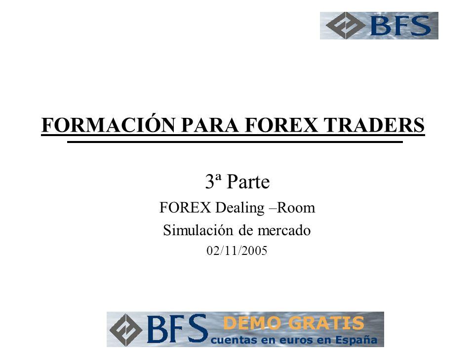 FORMACIÓN PARA FOREX TRADERS 3ª Parte FOREX Dealing –Room Simulación de mercado 02/11/2005