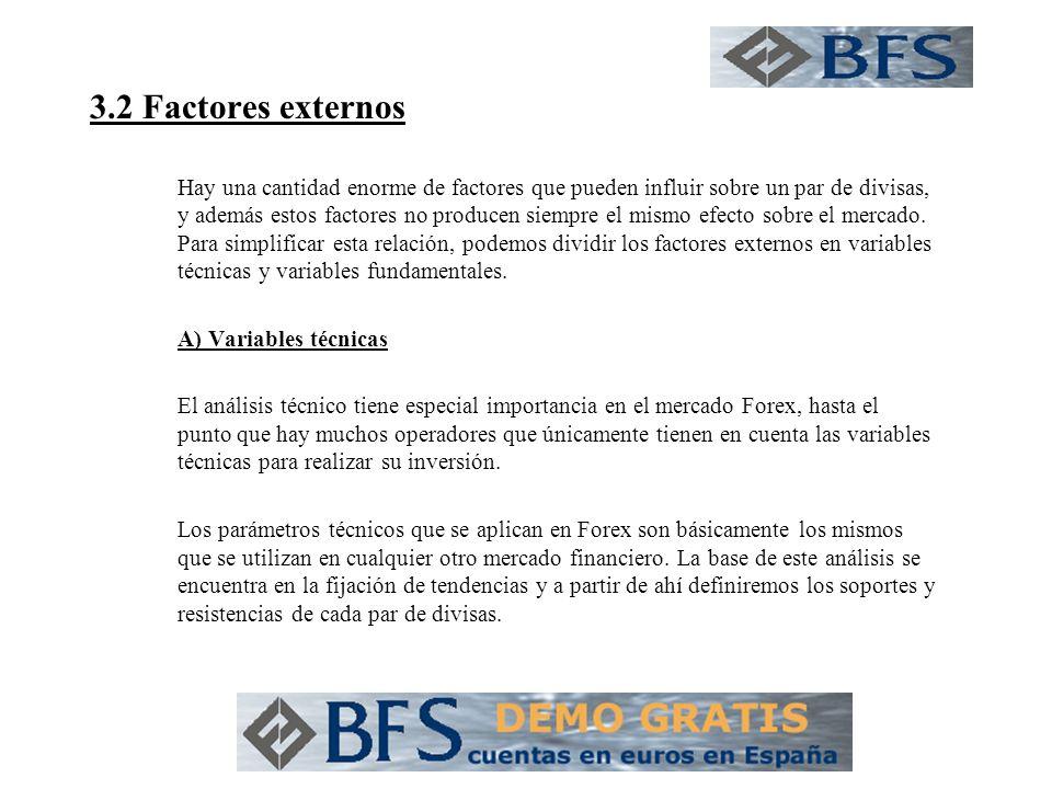 3.2 Factores externos Hay una cantidad enorme de factores que pueden influir sobre un par de divisas, y además estos factores no producen siempre el mismo efecto sobre el mercado.
