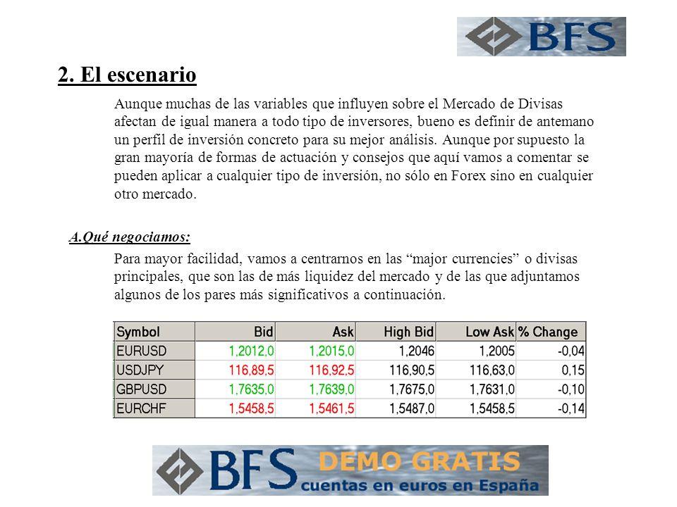 2. El escenario Aunque muchas de las variables que influyen sobre el Mercado de Divisas afectan de igual manera a todo tipo de inversores, bueno es de
