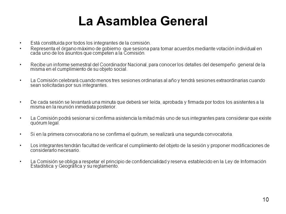 10 La Asamblea General Está constituida por todos los integrantes de la comisión.