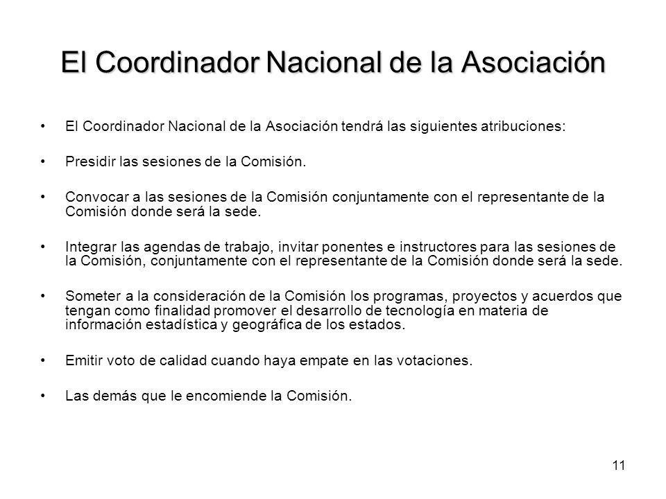 11 El Coordinador Nacional de la Asociación El Coordinador Nacional de la Asociación tendrá las siguientes atribuciones: Presidir las sesiones de la Comisión.