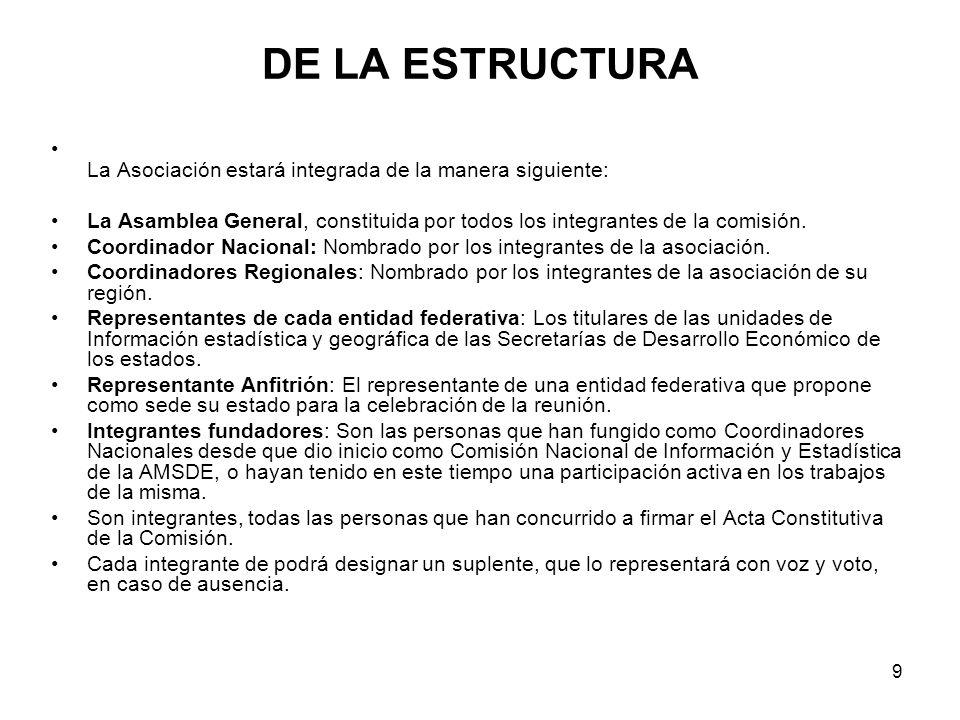 9 DE LA ESTRUCTURA La Asociación estará integrada de la manera siguiente: La Asamblea General, constituida por todos los integrantes de la comisión.