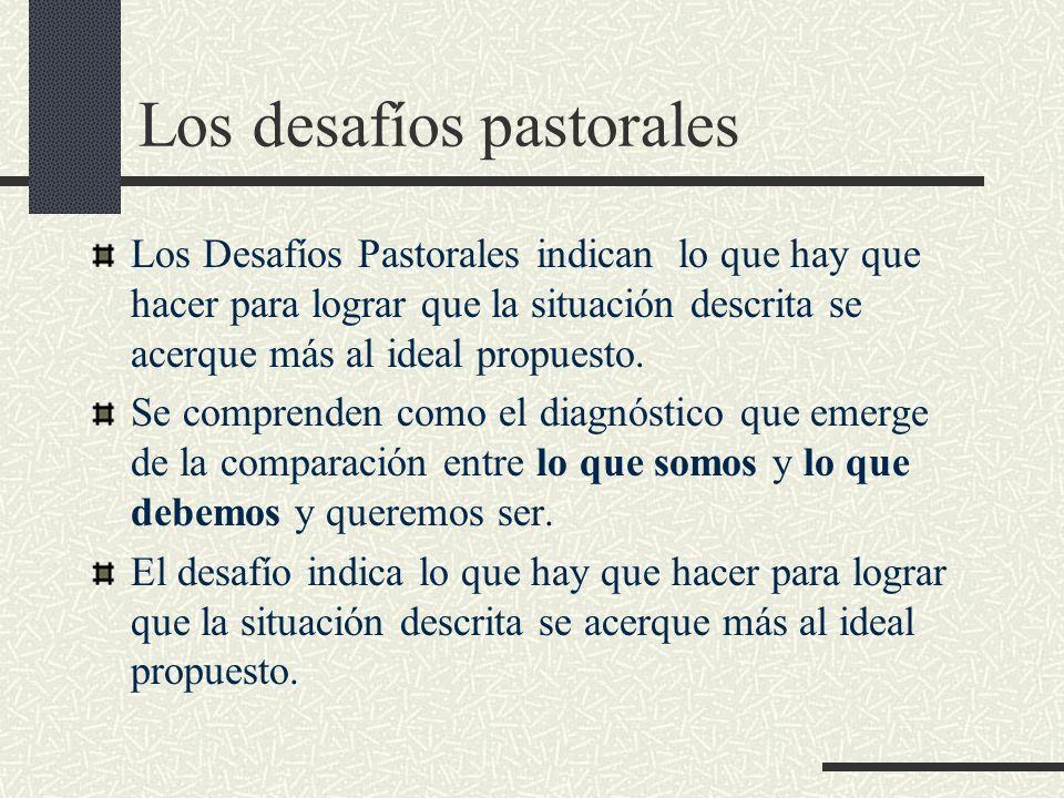 Los desafíos pastorales Los Desafíos Pastorales indican lo que hay que hacer para lograr que la situación descrita se acerque más al ideal propuesto.