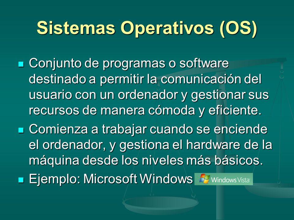 Sistemas Operativos (OS) Conjunto de programas o software destinado a permitir la comunicación del usuario con un ordenador y gestionar sus recursos d