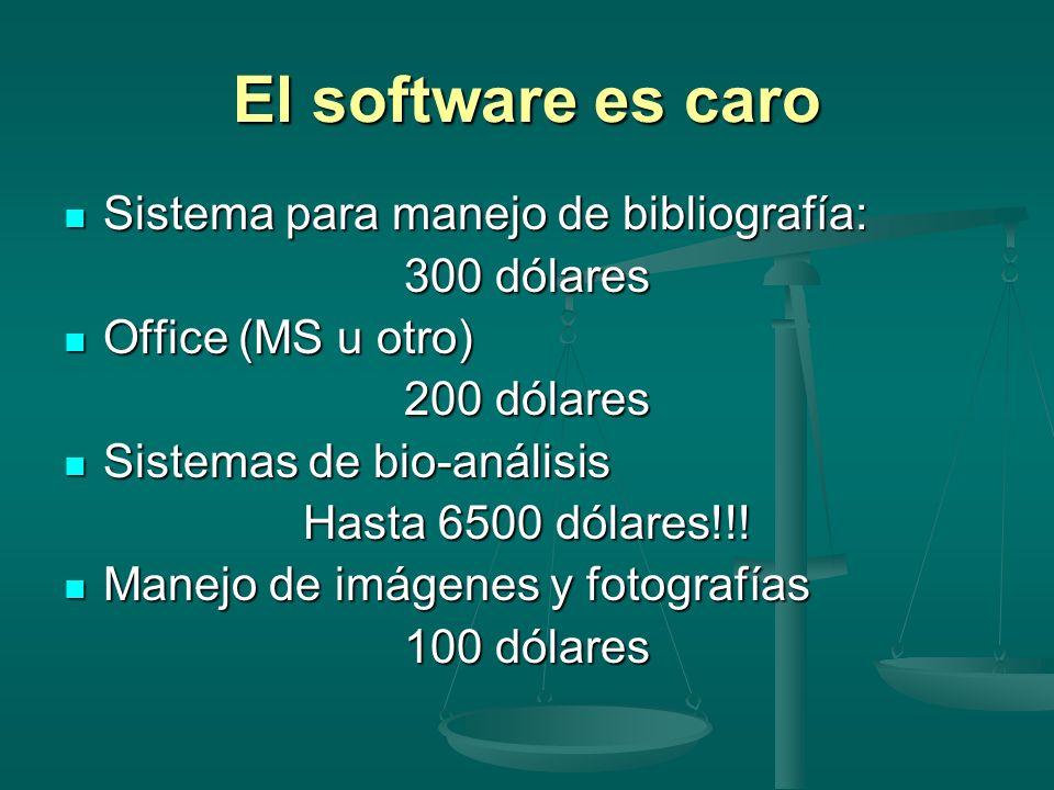 El software es caro Sistema para manejo de bibliografía: Sistema para manejo de bibliografía: 300 dólares Office (MS u otro) Office (MS u otro) 200 dó