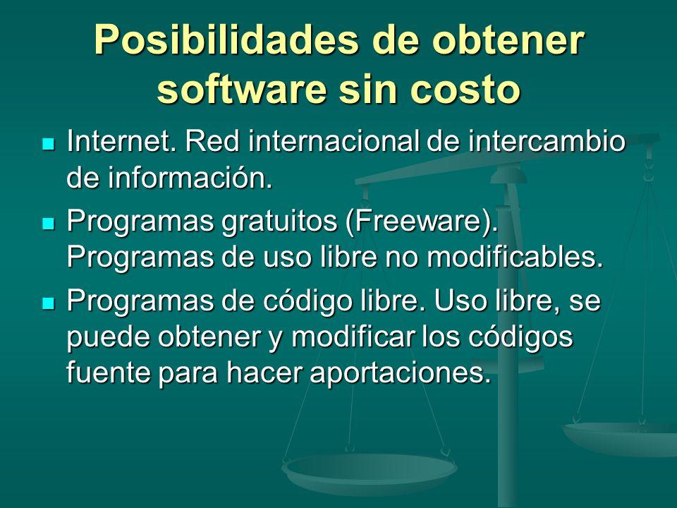 Posibilidades de obtener software sin costo Internet. Red internacional de intercambio de información. Internet. Red internacional de intercambio de i