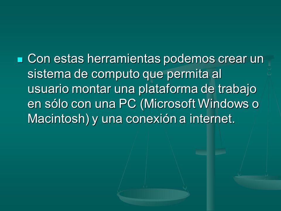 Con estas herramientas podemos crear un sistema de computo que permita al usuario montar una plataforma de trabajo en sólo con una PC (Microsoft Windo