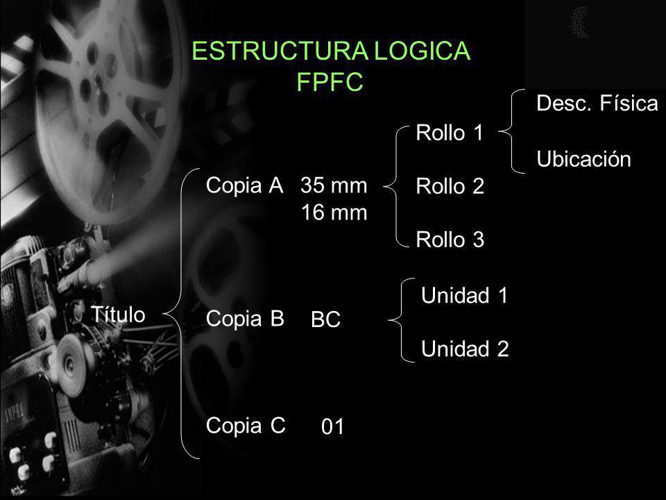 ESTRUCTURA LOGICA FPFC Título Copia A Copia B Copia C Rollo 1 Rollo 2 Rollo 3 Unidad 1 Unidad 2 35 mm 16 mm BC 01 Desc. Física Ubicación