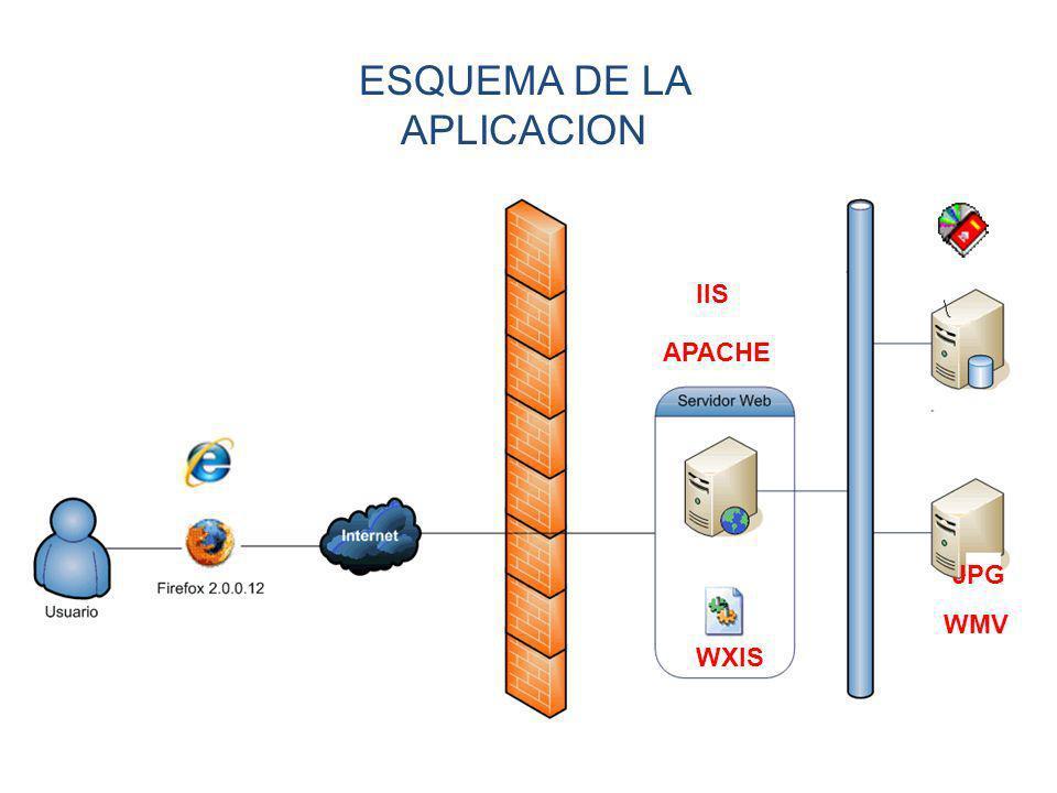 ESQUEMA DE LA APLICACION WXIS JPG WMV IIS APACHE
