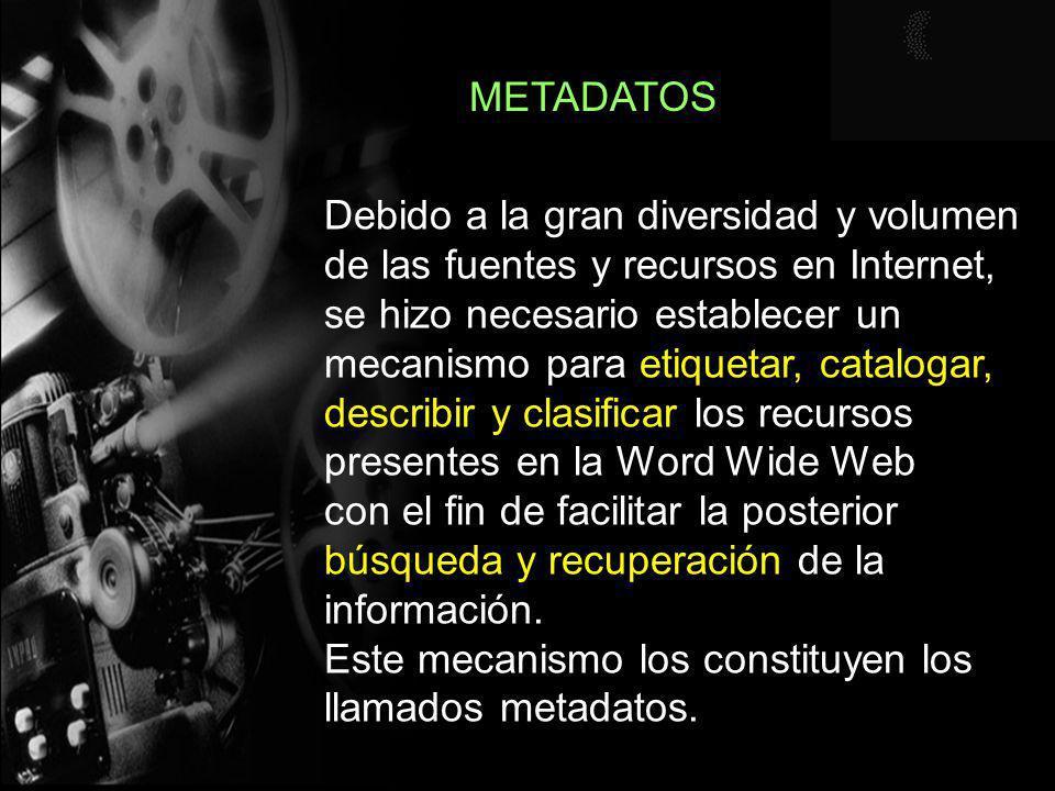 METADATOS Por ejemplo, en un sentido amplio, si entendemos que metadatos es un término que se utiliza para describir datos que ofrecen el tipo y la clase de la información, esto es, son datos acerca de datos, podemos considerar que el catálogo de una biblioteca o un catálogo de películas son tipos de metadatos.