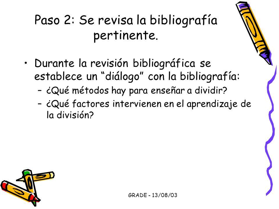 GRADE - 13/08/03 Paso 2: Se revisa la bibliografía pertinente. Durante la revisión bibliográfica se establece un diálogo con la bibliografía: –¿Qué mé