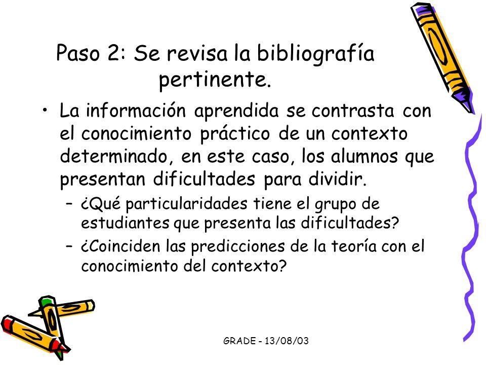 GRADE - 13/08/03 Paso 2: Se revisa la bibliografía pertinente. La información aprendida se contrasta con el conocimiento práctico de un contexto deter
