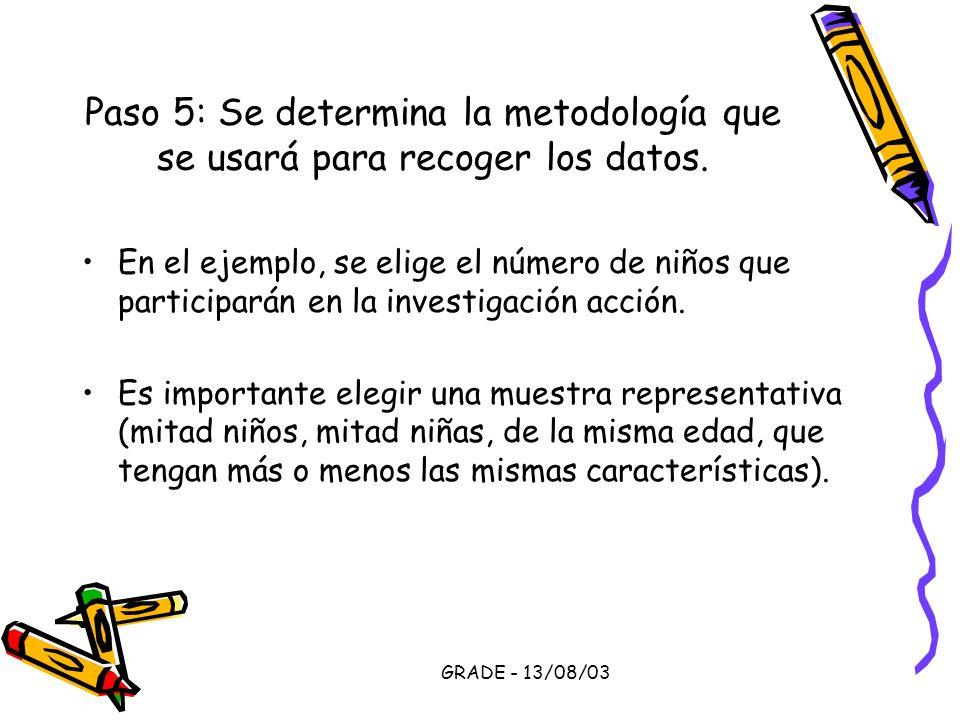 GRADE - 13/08/03 Paso 5: Se determina la metodología que se usará para recoger los datos. En el ejemplo, se elige el número de niños que participarán