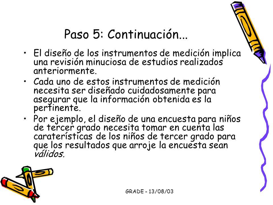 GRADE - 13/08/03 Paso 5: Continuación... El diseño de los instrumentos de medición implica una revisión minuciosa de estudios realizados anteriormente