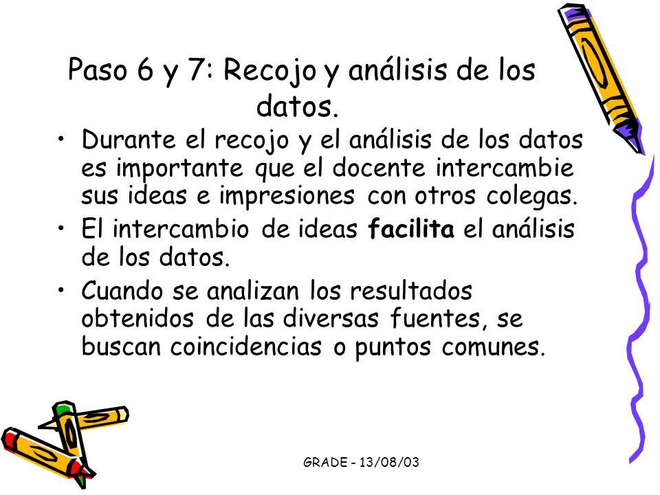 GRADE - 13/08/03 Paso 6 y 7: Recojo y análisis de los datos. Durante el recojo y el análisis de los datos es importante que el docente intercambie sus
