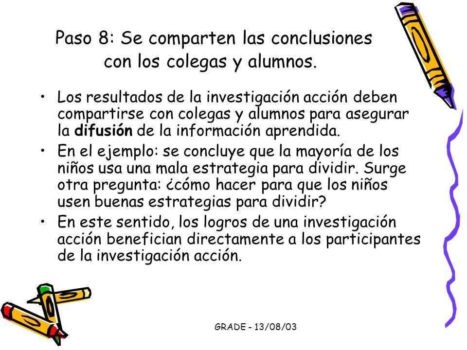 GRADE - 13/08/03 Paso 8: Se comparten las conclusiones con los colegas y alumnos. Los resultados de la investigación acción deben compartirse con cole