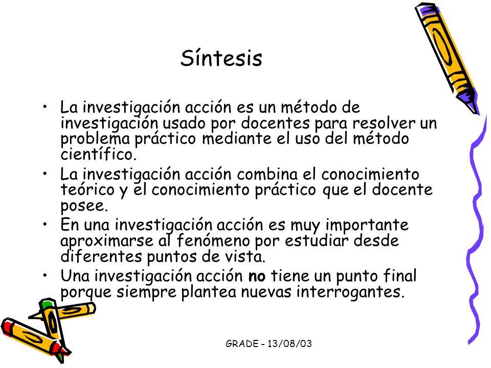 GRADE - 13/08/03 Síntesis La investigación acción es un método de investigación usado por docentes para resolver un problema práctico mediante el uso