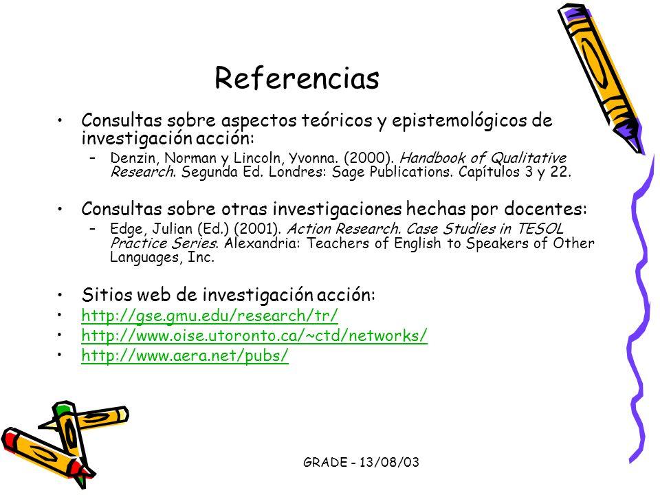 GRADE - 13/08/03 Referencias Consultas sobre aspectos teóricos y epistemológicos de investigación acción: –Denzin, Norman y Lincoln, Yvonna. (2000). H