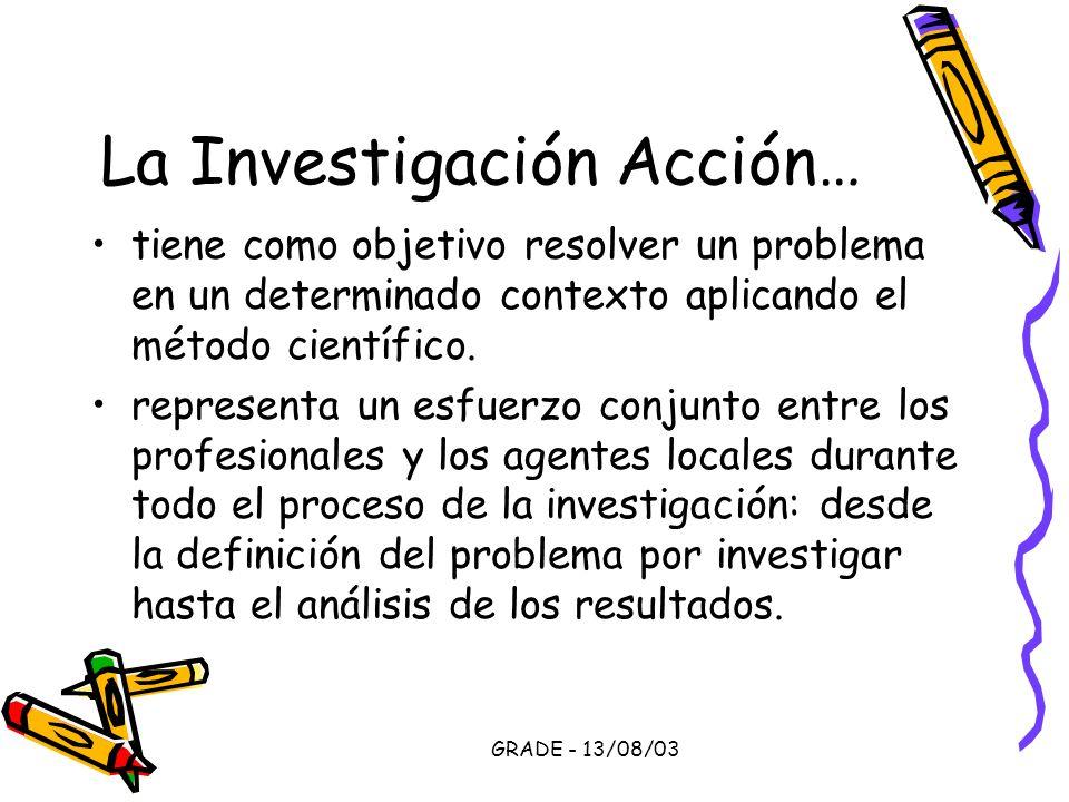 GRADE - 13/08/03 La Investigación Acción… tiene como objetivo resolver un problema en un determinado contexto aplicando el método científico. represen