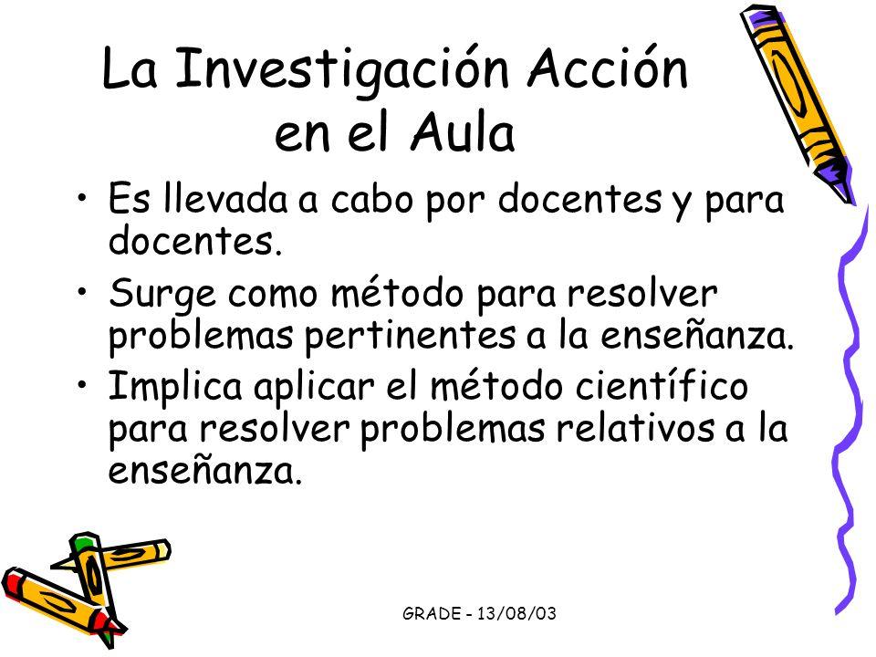 GRADE - 13/08/03 La Investigación Acción en el Aula Es llevada a cabo por docentes y para docentes. Surge como método para resolver problemas pertinen