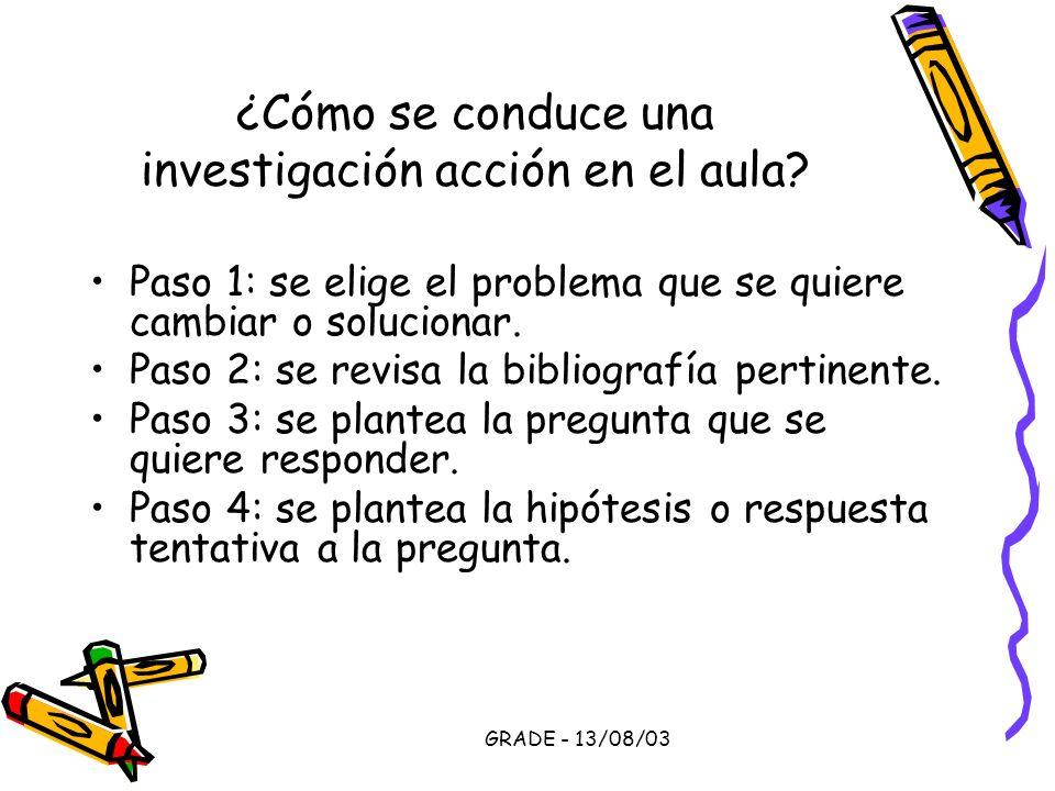 GRADE - 13/08/03 ¿Cómo se conduce una investigación acción en el aula? Paso 1: se elige el problema que se quiere cambiar o solucionar. Paso 2: se rev