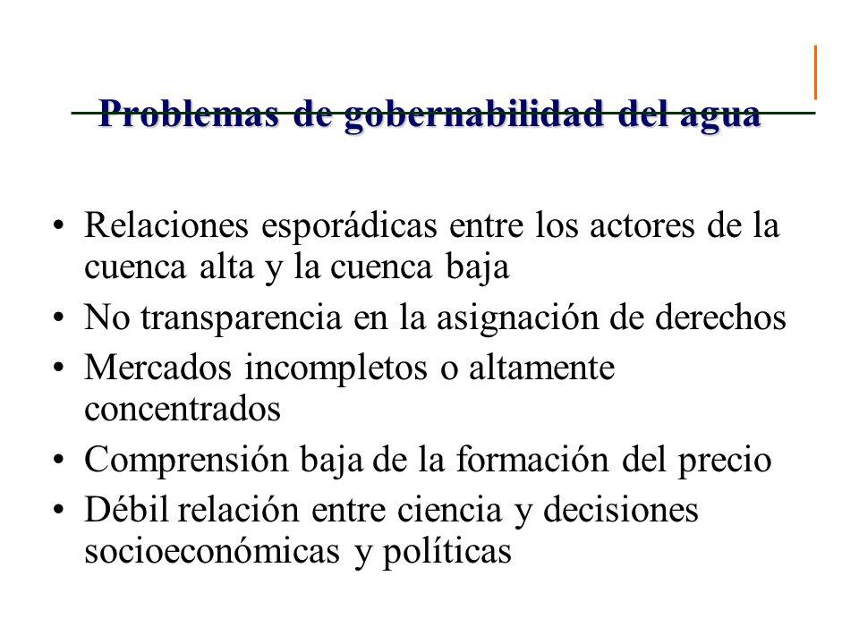 Problemas de gobernabilidad del agua Relaciones esporádicas entre los actores de la cuenca alta y la cuenca baja No transparencia en la asignación de