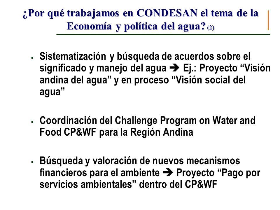 ¿Por qué trabajamos en CONDESAN el tema de la Economía y política del agua? (2) Sistematización y búsqueda de acuerdos sobre el significado y manejo d