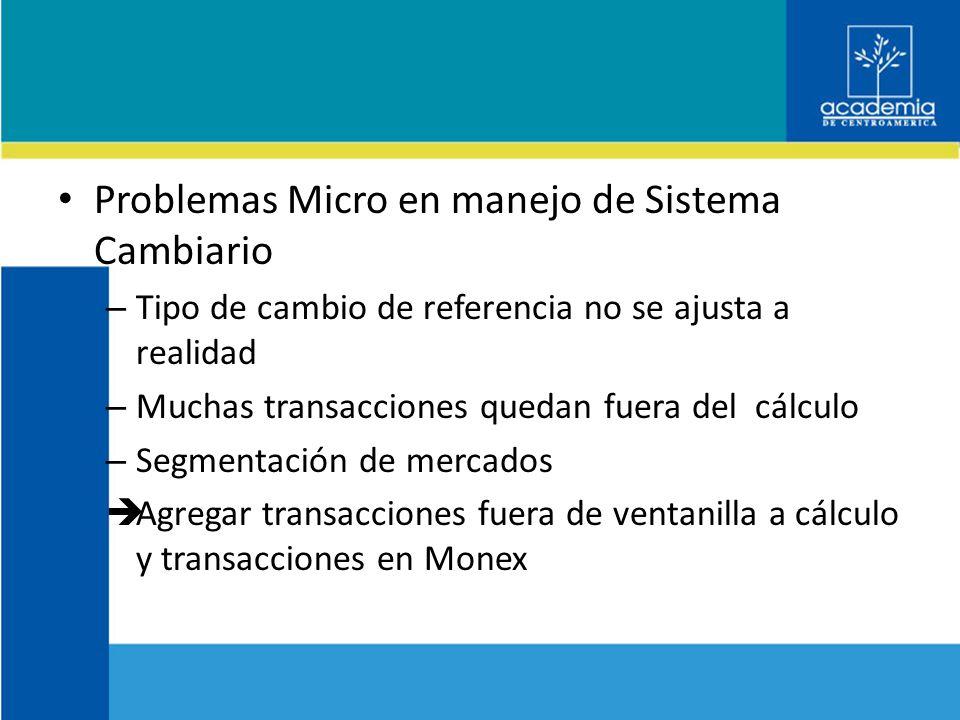 Problemas Micro en manejo de Sistema Cambiario – Tipo de cambio de referencia no se ajusta a realidad – Muchas transacciones quedan fuera del cálculo – Segmentación de mercados Agregar transacciones fuera de ventanilla a cálculo y transacciones en Monex