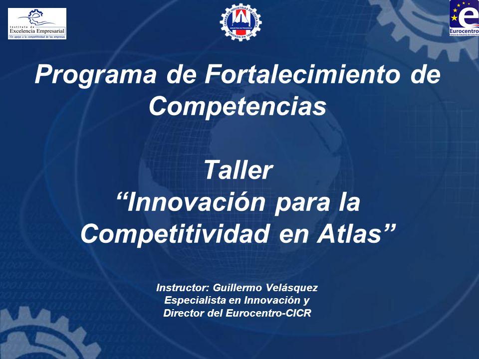 Programa de Fortalecimiento de Competencias Taller Innovación para la Competitividad en Atlas Instructor: Guillermo Velásquez Especialista en Innovaci