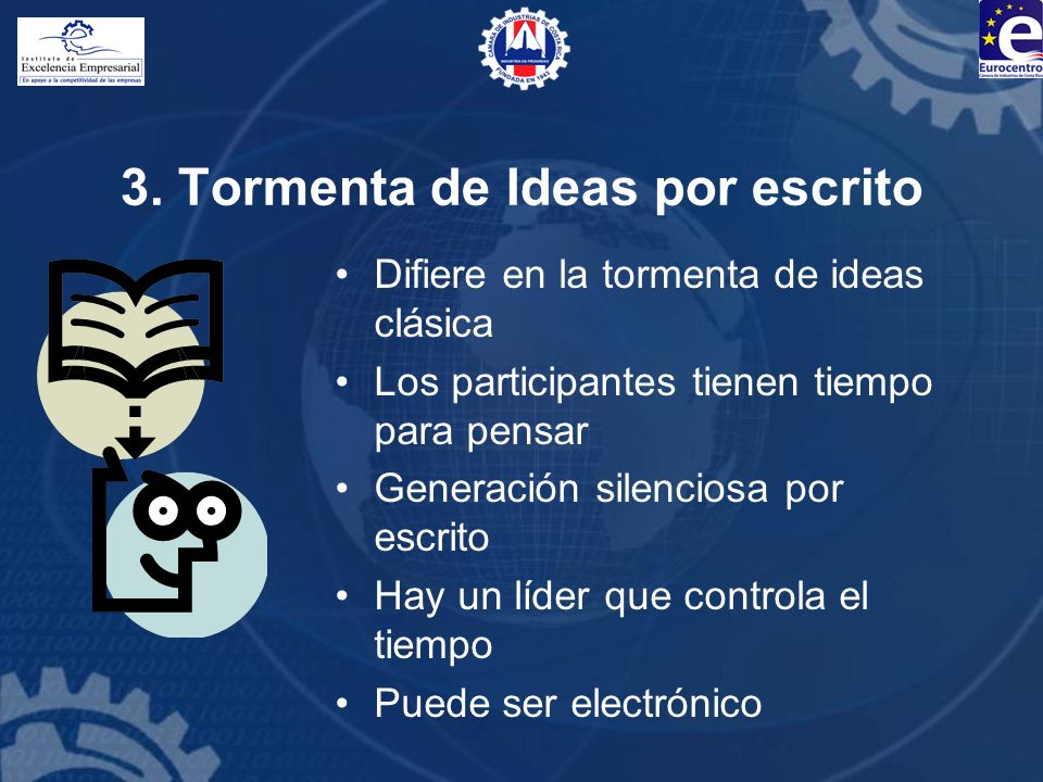 3. Tormenta de Ideas por escrito Difiere en la tormenta de ideas clásica Los participantes tienen tiempo para pensar Generación silenciosa por escrito