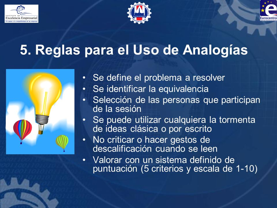 5. Reglas para el Uso de Analogías Se define el problema a resolver Se identificar la equivalencia Selección de las personas que participan de la sesi