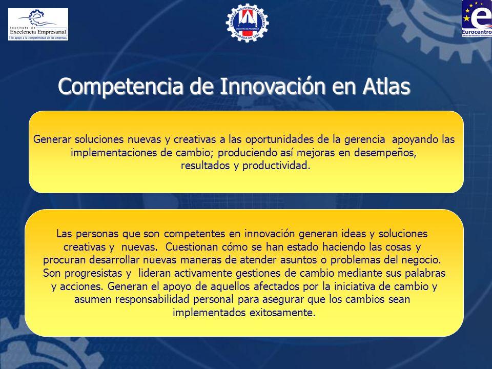 Competencia de Innovación en Atlas Generar soluciones nuevas y creativas a las oportunidades de la gerencia apoyando las implementaciones de cambio; p