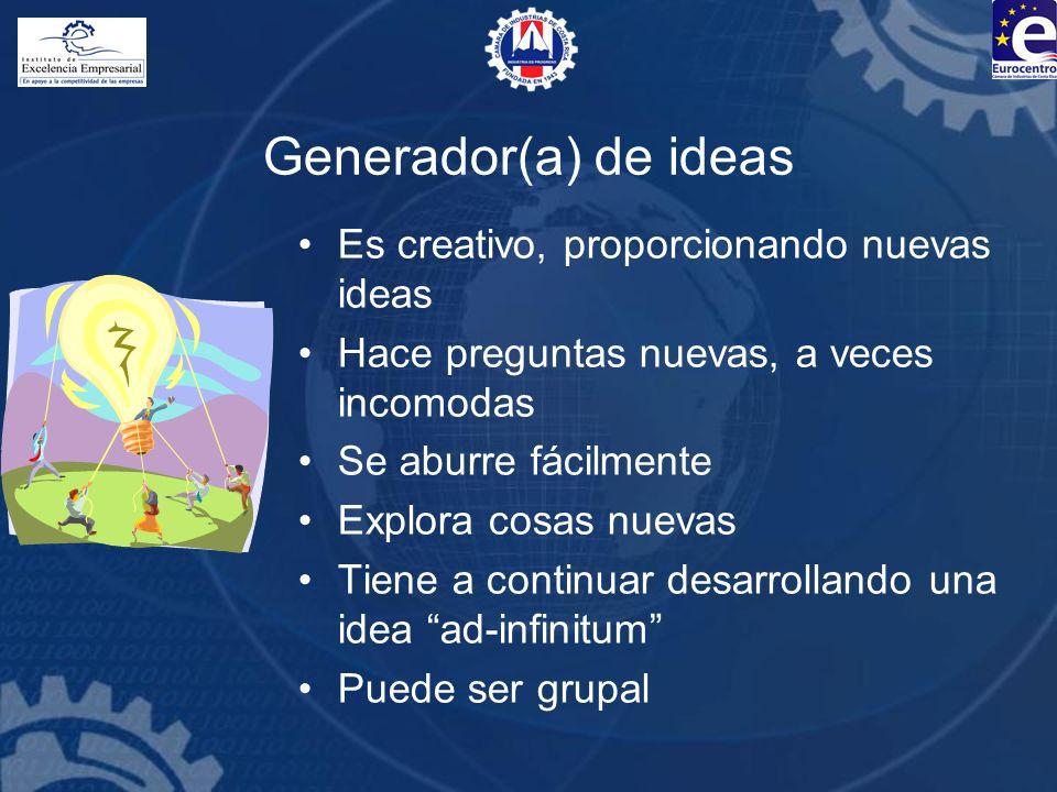 Generador(a) de ideas Es creativo, proporcionando nuevas ideas Hace preguntas nuevas, a veces incomodas Se aburre fácilmente Explora cosas nuevas Tien