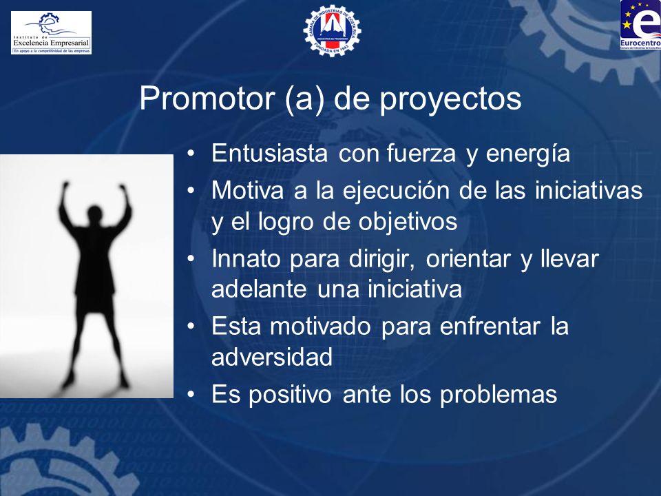 Promotor (a) de proyectos Entusiasta con fuerza y energía Motiva a la ejecución de las iniciativas y el logro de objetivos Innato para dirigir, orient