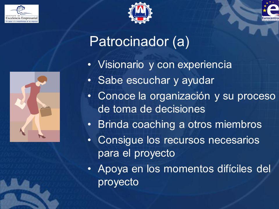 Patrocinador (a) Visionario y con experiencia Sabe escuchar y ayudar Conoce la organización y su proceso de toma de decisiones Brinda coaching a otros