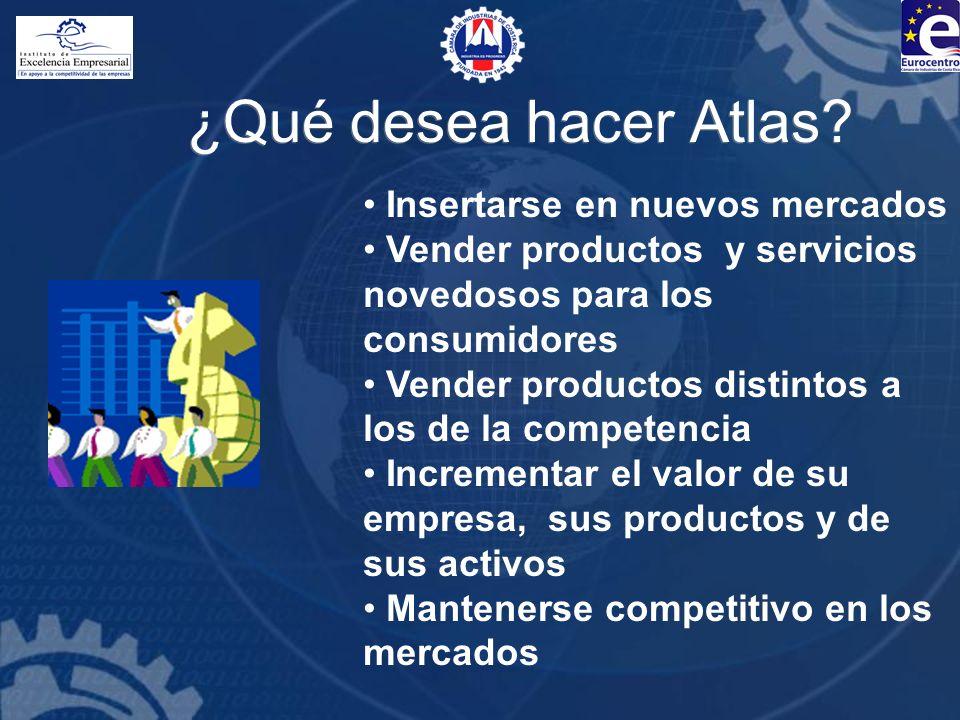 ¿Qué desea hacer Atlas? Insertarse en nuevos mercados Vender productos y servicios novedosos para los consumidores Vender productos distintos a los de