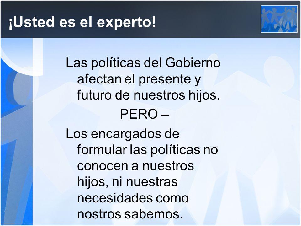 ¡Usted es el experto. Las políticas del Gobierno afectan el presente y futuro de nuestros hijos.