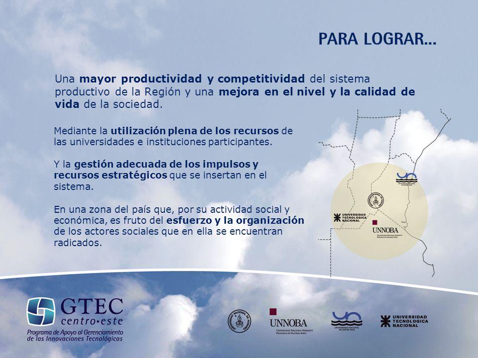 Una mayor productividad y competitividad del sistema productivo de la Región y una mejora en el nivel y la calidad de vida de la sociedad.