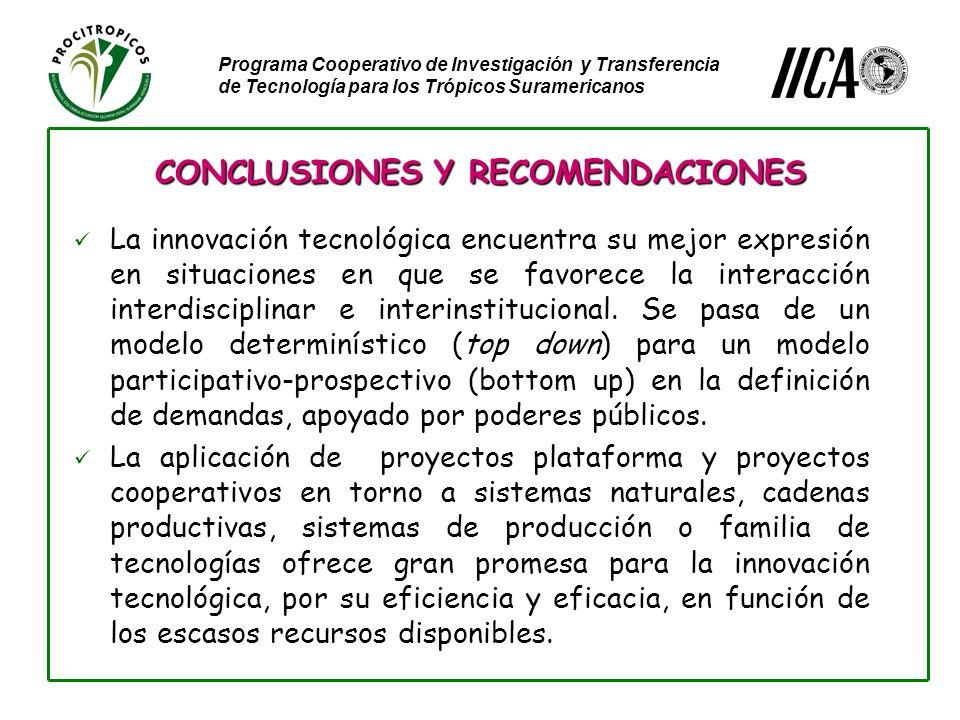 Programa Cooperativo de Investigación y Transferencia de Tecnología para los Trópicos Suramericanos La innovación tecnológica encuentra su mejor expresión en situaciones en que se favorece la interacción interdisciplinar e interinstitucional.