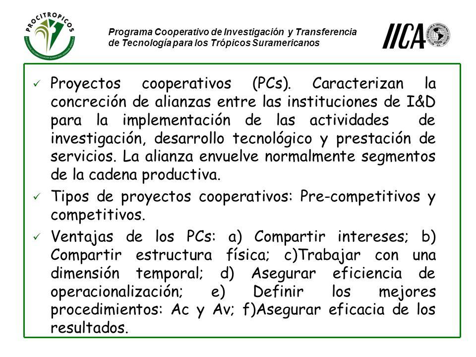 Programa Cooperativo de Investigación y Transferencia de Tecnología para los Trópicos Suramericanos Proyectos cooperativos (PCs).