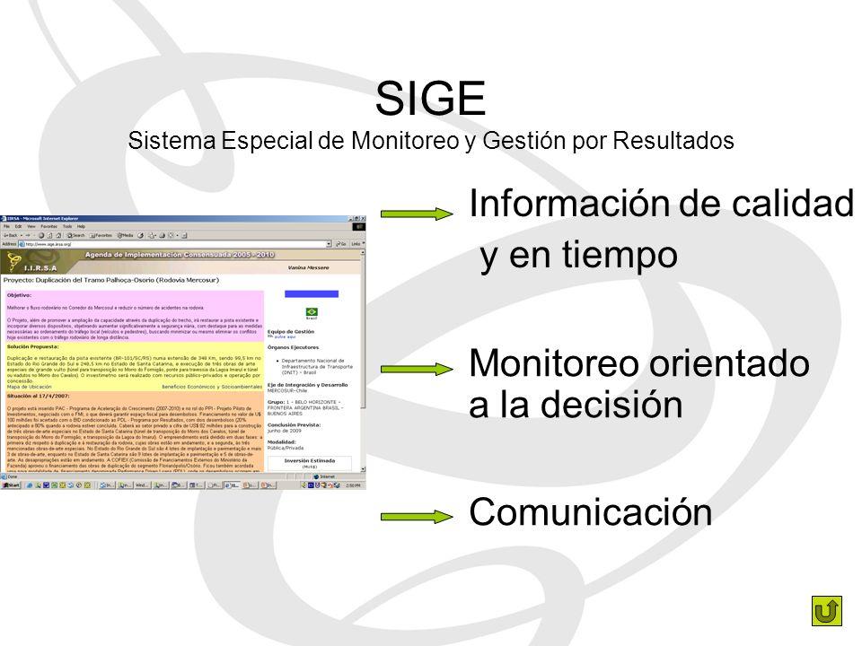 SIGE Sistema Especial de Monitoreo y Gestión por Resultados Información de calidad y en tiempo Monitoreo orientado a la decisión Comunicación