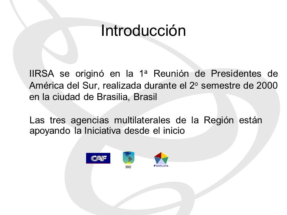 IIRSA se originó en la 1 a Reunión de Presidentes de América del Sur, realizada durante el 2 o semestre de 2000 en la ciudad de Brasilia, Brasil Las tres agencias multilaterales de la Región están apoyando la Iniciativa desde el inicio BID Introducción
