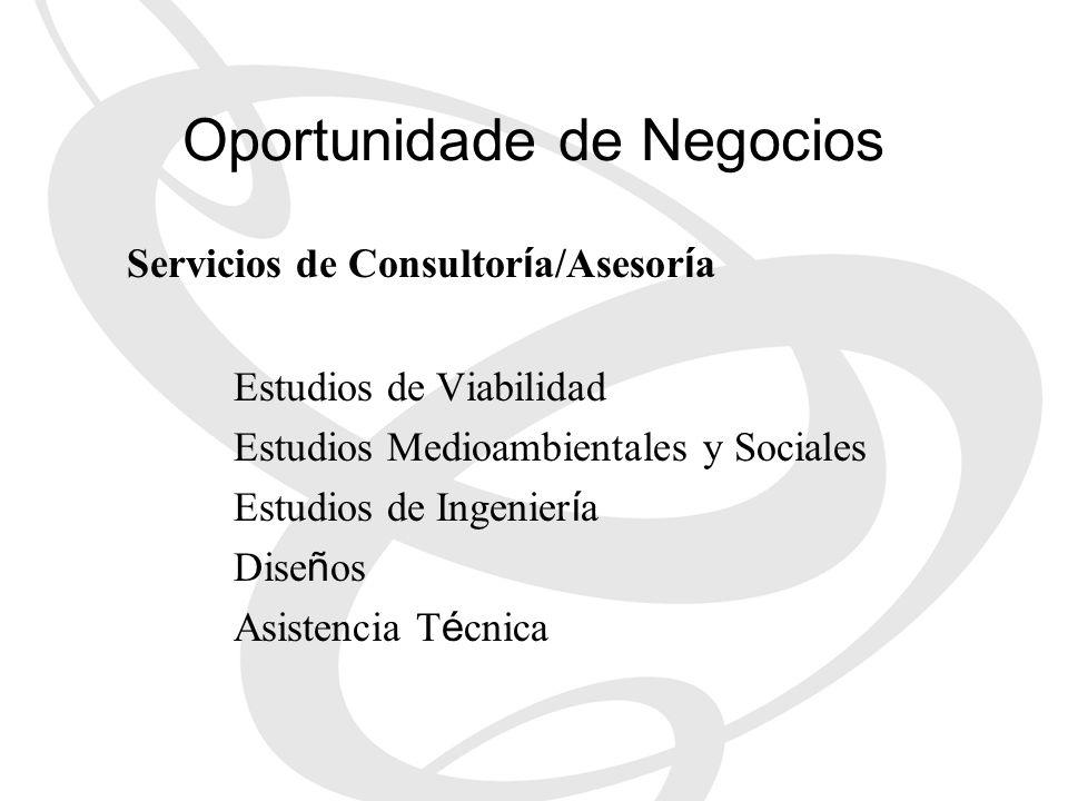 Servicios de Consultor í a/Asesor í a Estudios de Viabilidad Estudios Medioambientales y Sociales Estudios de Ingenier í a Dise ñ os Asistencia T é cn