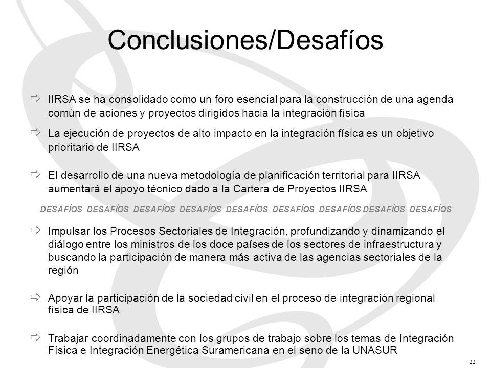 IIRSA se ha consolidado como un foro esencial para la construcción de una agenda común de aciones y proyectos dirigidos hacia la integración física La ejecución de proyectos de alto impacto en la integración física es un objetivo prioritario de IIRSA El desarrollo de una nueva metodología de planificación territorial para IIRSA aumentará el apoyo técnico dado a la Cartera de Proyectos IIRSA DESAFÍOS DESAFÍOS DESAFÍOS DESAFÍOS DESAFÍOS DESAFÍOS DESAFÍOS DESAFÍOS DESAFÍOS Impulsar los Procesos Sectoriales de Integración, profundizando y dinamizando el diálogo entre los ministros de los doce países de los sectores de infraestructura y buscando la participación de manera más activa de las agencias sectoriales de la región Apoyar la participación de la sociedad civil en el proceso de integración regional física de IIRSA Trabajar coordinadamente con los grupos de trabajo sobre los temas de Integración Física e Integración Energética Suramericana en el seno de la UNASUR Conclusiones/Desafíos 22