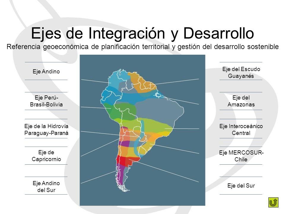 Ejes de Integración y Desarrollo Referencia geoeconómica de planificación territorial y gestión del desarrollo sostenible Eje Andino Eje Perú- Brasil-Bolivia Eje de la Hidrovía Paraguay-Paraná Eje de Capricornio Eje Andino del Sur Eje del Escudo Guayanés Eje del Amazonas Eje Interoceánico Central Eje MERCOSUR- Chile Eje del Sur