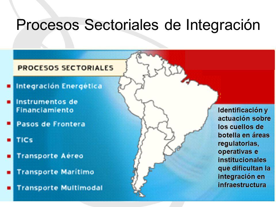 Identificación y actuación sobre los cuellos de botella en áreas regulatorias, operativas e institucionales que dificultan la integración en infraestructura Procesos Sectoriales de Integración