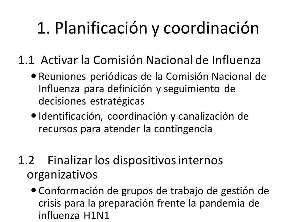 1. Planificación y coordinación 1.1 Activar la Comisión Nacional de Influenza Reuniones periódicas de la Comisión Nacional de Influenza para definició