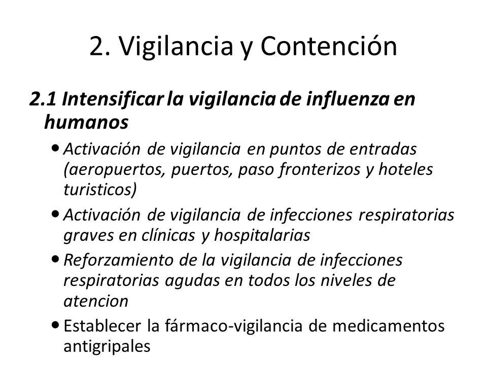 2. Vigilancia y Contención 2.1 Intensificar la vigilancia de influenza en humanos Activación de vigilancia en puntos de entradas (aeropuertos, puertos